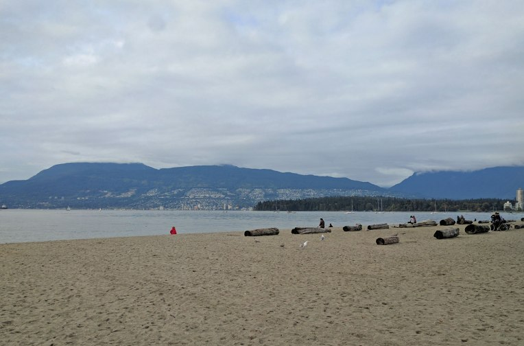 relaxing at Kitsilano Beach Park